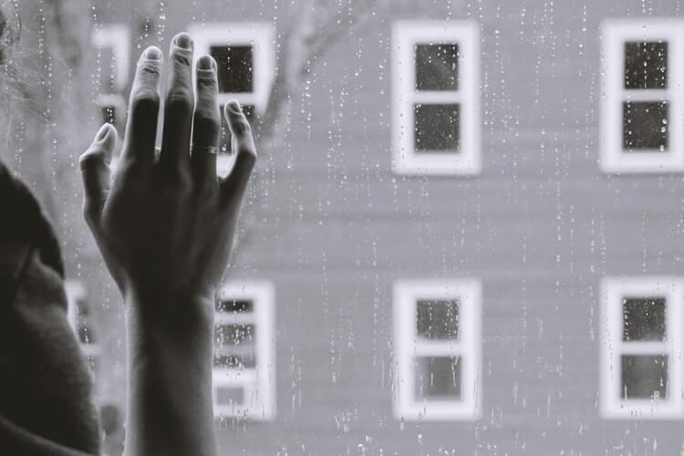 雨を見ている女性の写真