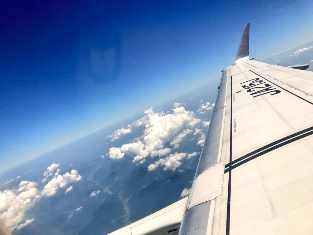 飛行機から見える景色の写真